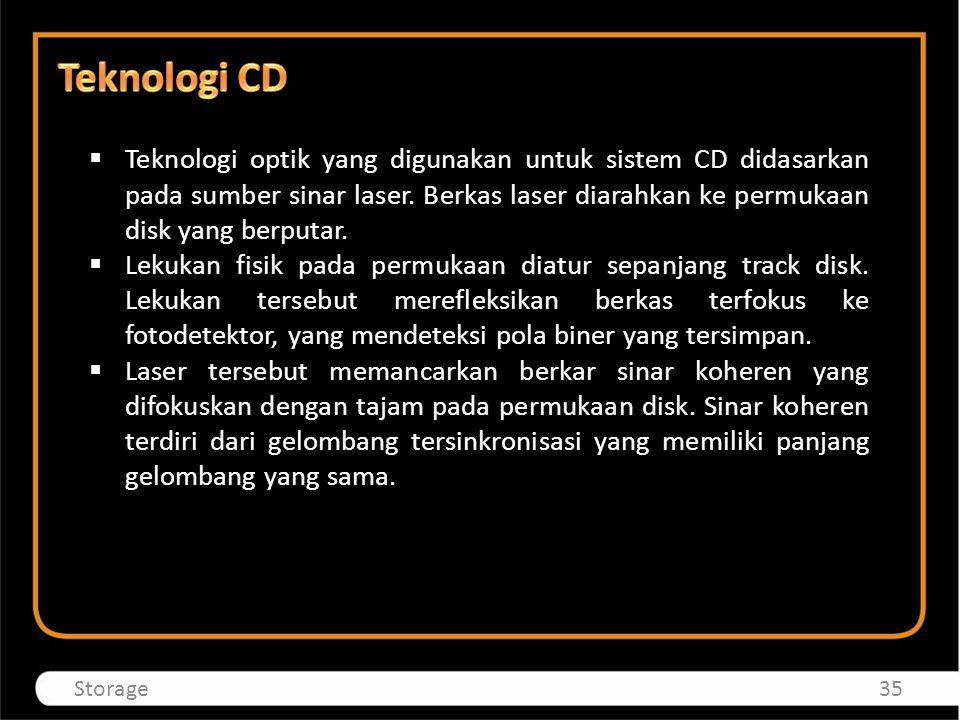  Teknologi optik yang digunakan untuk sistem CD didasarkan pada sumber sinar laser. Berkas laser diarahkan ke permukaan disk yang berputar.  Lekukan
