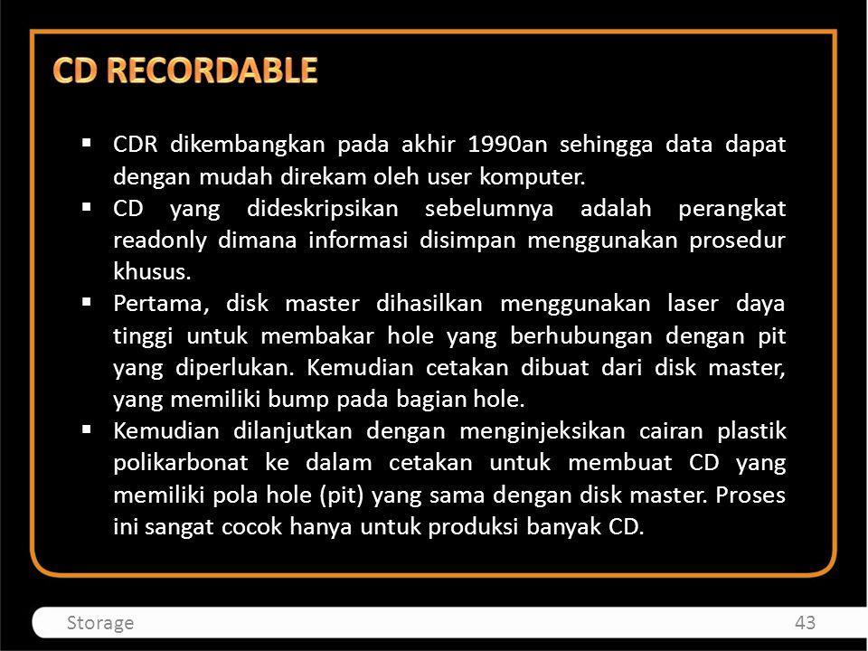  CDR dikembangkan pada akhir 1990an sehingga data dapat dengan mudah direkam oleh user komputer.  CD yang dideskripsikan sebelumnya adalah perangkat