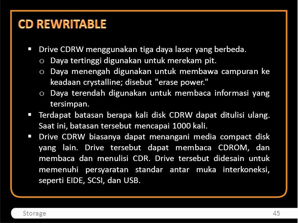  Drive CDRW menggunakan tiga daya laser yang berbeda. o Daya tertinggi digunakan untuk merekam pit. o Daya menengah digunakan untuk membawa campuran