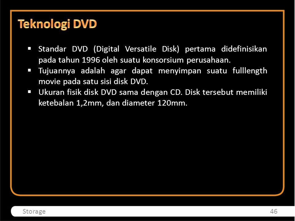 Standar DVD (Digital Versatile Disk) pertama didefinisikan pada tahun 1996 oleh suatu konsorsium perusahaan.  Tujuannya adalah agar dapat menyimpan