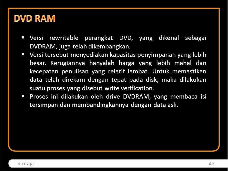  Versi rewritable perangkat DVD, yang dikenal sebagai DVDRAM, juga telah dikembangkan.  Versi tersebut menyediakan kapasitas penyimpanan yang lebih