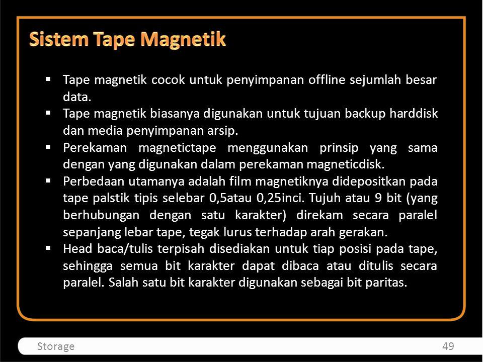  Tape magnetik cocok untuk penyimpanan offline sejumlah besar data.  Tape magnetik biasanya digunakan untuk tujuan backup harddisk dan media penyimp