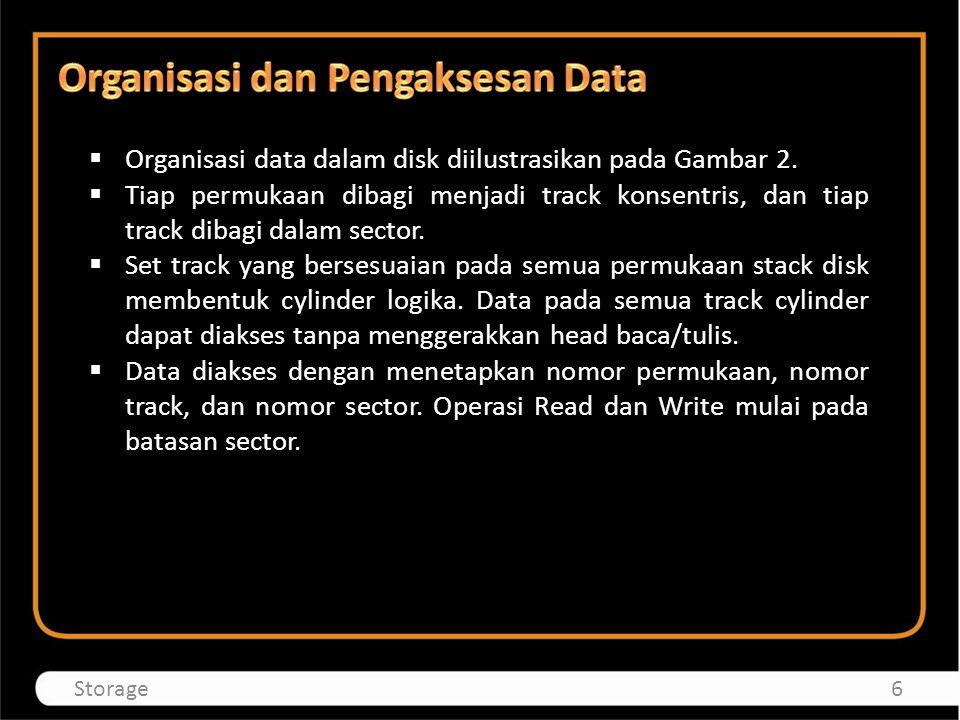 Organisasi data dalam disk diilustrasikan pada Gambar 2.  Tiap permukaan dibagi menjadi track konsentris, dan tiap track dibagi dalam sector.  Set