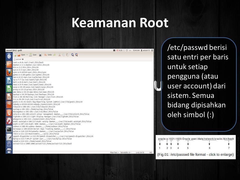 /etc/passwd berisi satu entri per baris untuk setiap pengguna (atau user account) dari sistem.