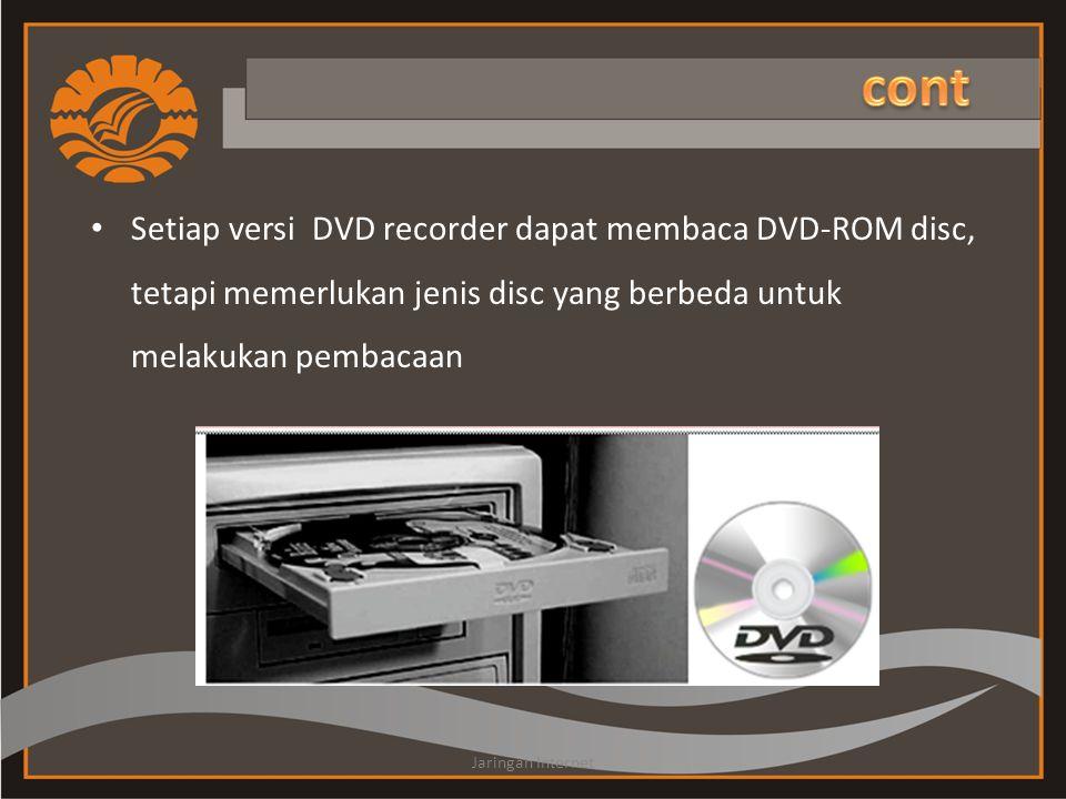 • Setiap versi DVD recorder dapat membaca DVD-ROM disc, tetapi memerlukan jenis disc yang berbeda untuk melakukan pembacaan Jaringan Internet