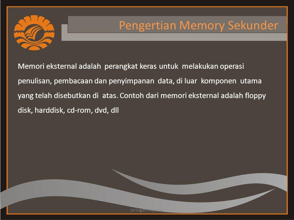 Pengertian Memory Sekunder Memori eksternal adalah perangkat keras untuk melakukan operasi penulisan, pembacaan dan penyimpanan data, di luar komponen utama yang telah disebutkan di atas.