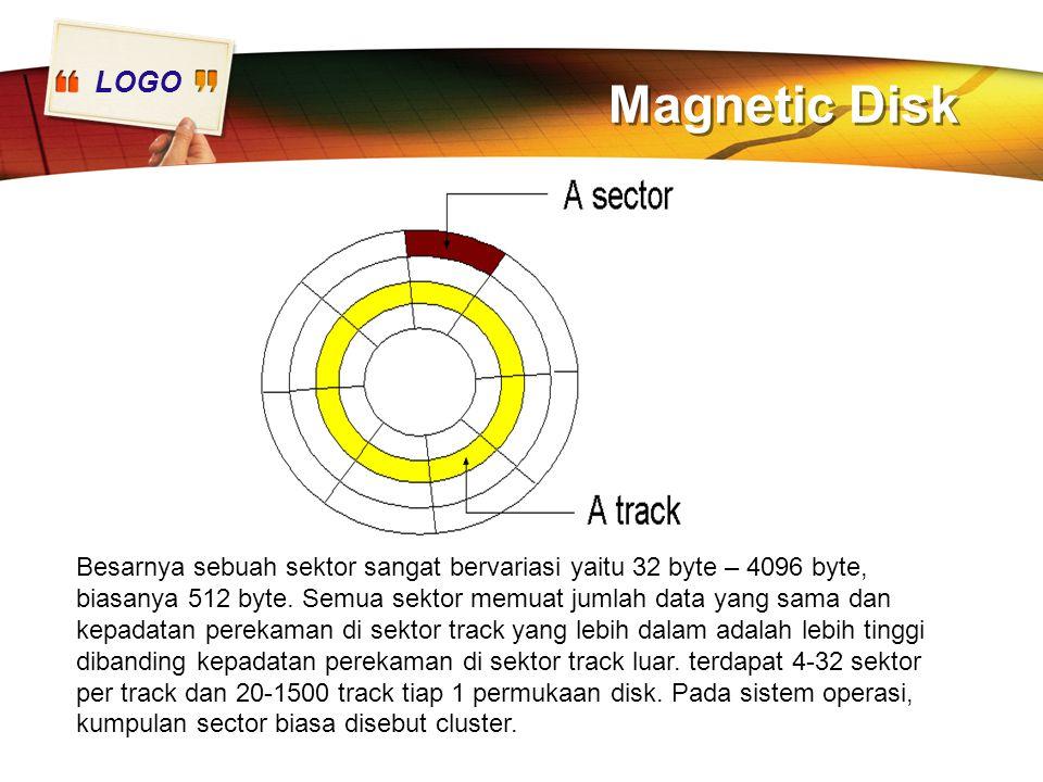 LOGO Magnetic Disk Besarnya sebuah sektor sangat bervariasi yaitu 32 byte – 4096 byte, biasanya 512 byte. Semua sektor memuat jumlah data yang sama da