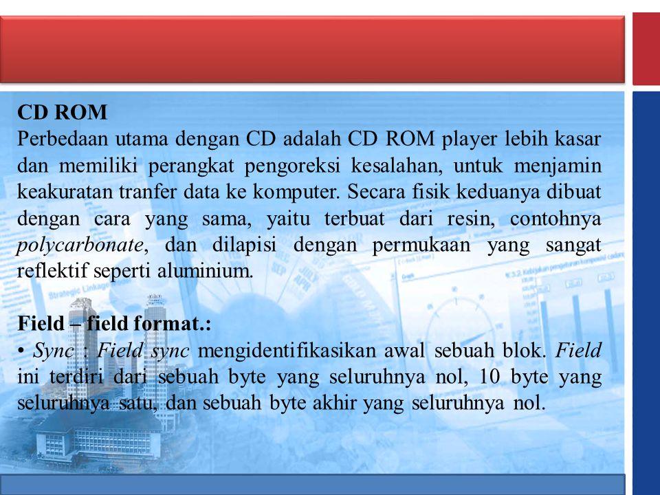 CD ROM Perbedaan utama dengan CD adalah CD ROM player lebih kasar dan memiliki perangkat pengoreksi kesalahan, untuk menjamin keakuratan tranfer data
