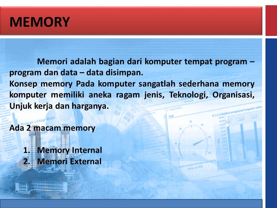 MEMORY Memori adalah bagian dari komputer tempat program – program dan data – data disimpan. Konsep memory Pada komputer sangatlah sederhana memory ko