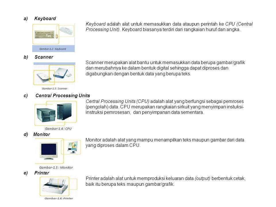 a) Keyboard Keyboard adalah alat untuk memasukkan data ataupun perintah ke CPU (Central Processing Unit).