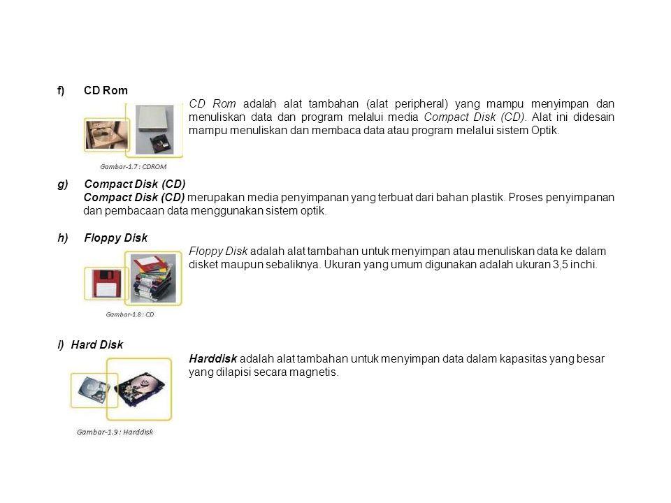 f) CD Rom CD Rom adalah alat tambahan (alat peripheral) yang mampu menyimpan dan menuliskan data dan program melalui media Compact Disk (CD).