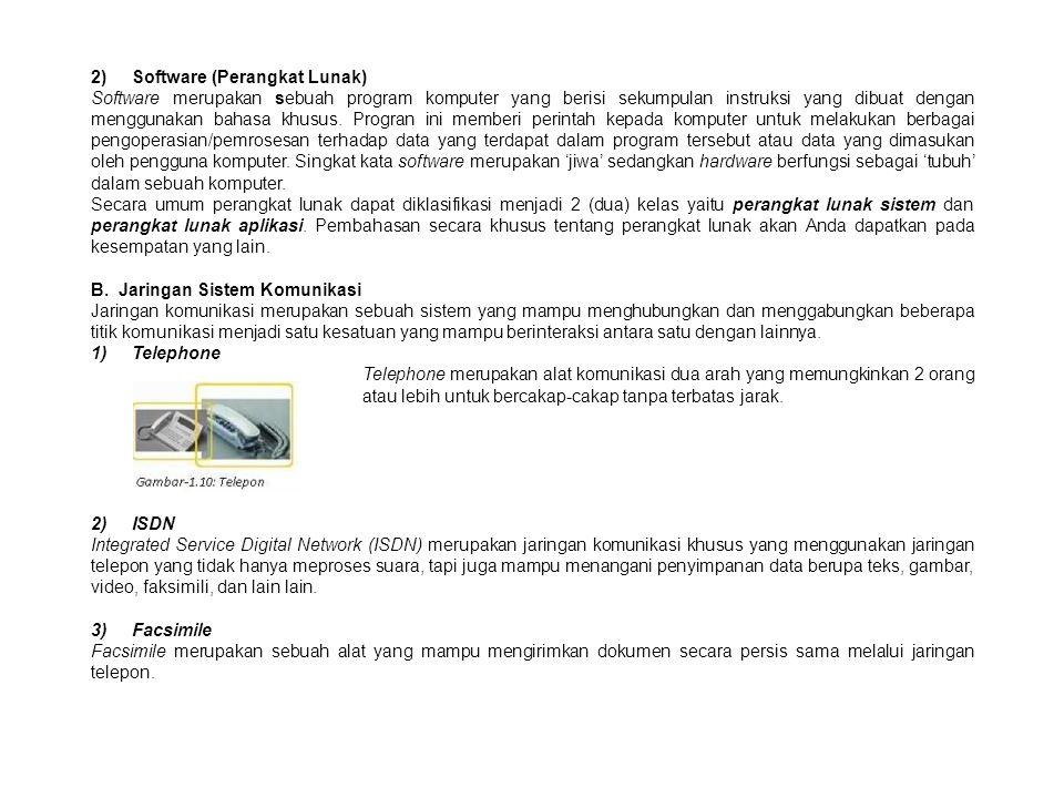 2) Software (Perangkat Lunak) Software merupakan sebuah program komputer yang berisi sekumpulan instruksi yang dibuat dengan menggunakan bahasa khusus.