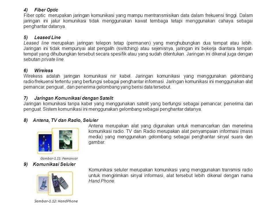 4) Fiber Optic Fiber optic merupakan jaringan komunikasi yang mampu mentransmisikan data dalam frekuensi tinggi.