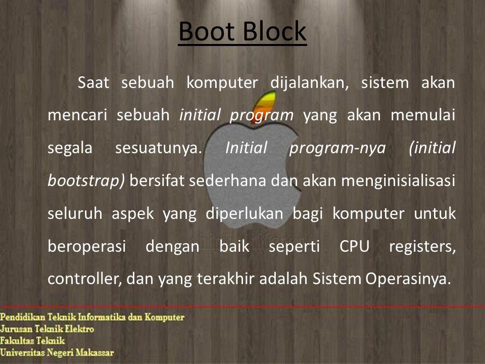 Boot Block Saat sebuah komputer dijalankan, sistem akan mencari sebuah initial program yang akan memulai segala sesuatunya.