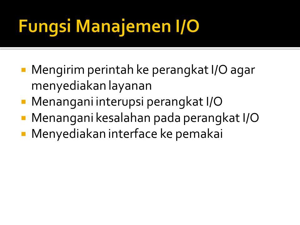  Mengirim perintah ke perangkat I/O agar menyediakan layanan  Menangani interupsi perangkat I/O  Menangani kesalahan pada perangkat I/O  Menyediak