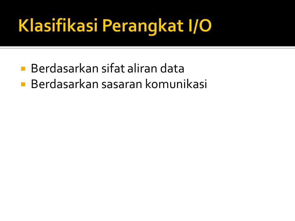  Perangkat berorientasi blok (block-oriented devices)  Contoh: disk, tape, CD ROM, optical disk.