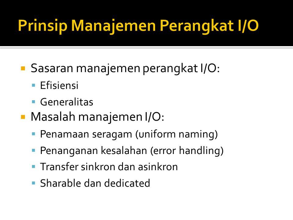  Sasaran manajemen perangkat I/O:  Efisiensi  Generalitas  Masalah manajemen I/O:  Penamaan seragam (uniform naming)  Penanganan kesalahan (erro