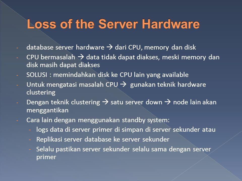 - database server hardware  dari CPU, memory dan disk - CPU bermasalah  data tidak dapat diakses, meski memory dan disk masih dapat diakses - SOLUSI