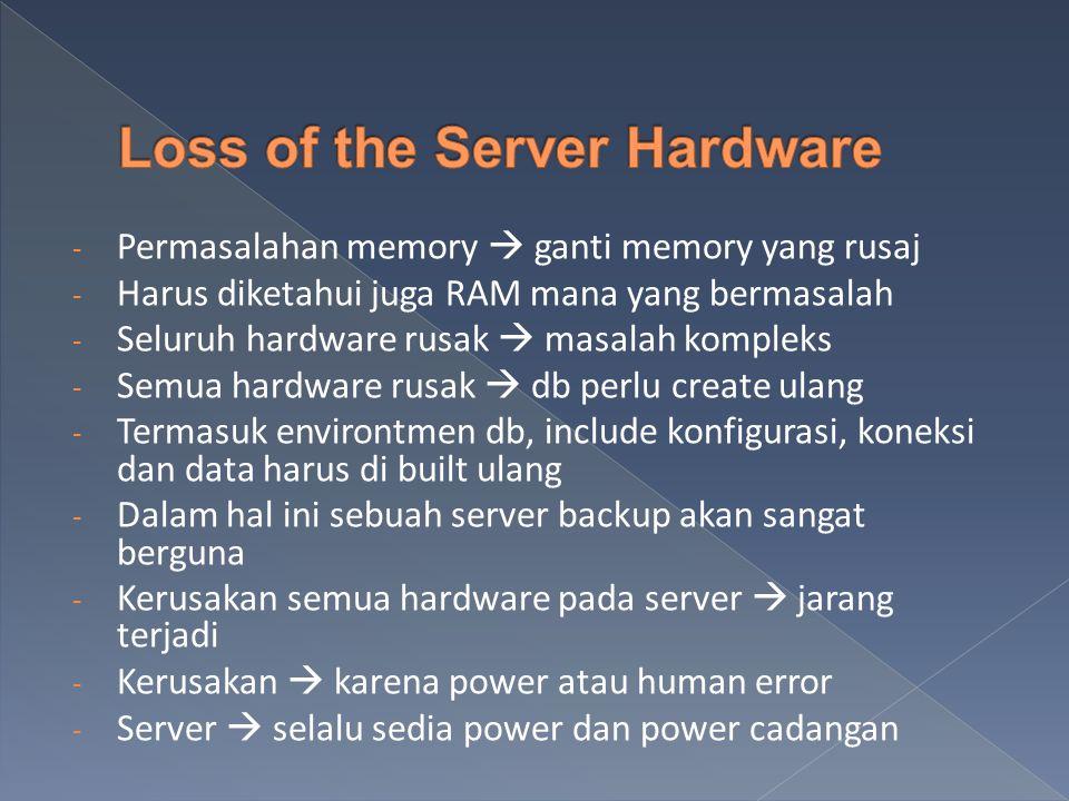 - Permasalahan memory  ganti memory yang rusaj - Harus diketahui juga RAM mana yang bermasalah - Seluruh hardware rusak  masalah kompleks - Semua hardware rusak  db perlu create ulang - Termasuk environtmen db, include konfigurasi, koneksi dan data harus di built ulang - Dalam hal ini sebuah server backup akan sangat berguna - Kerusakan semua hardware pada server  jarang terjadi - Kerusakan  karena power atau human error - Server  selalu sedia power dan power cadangan
