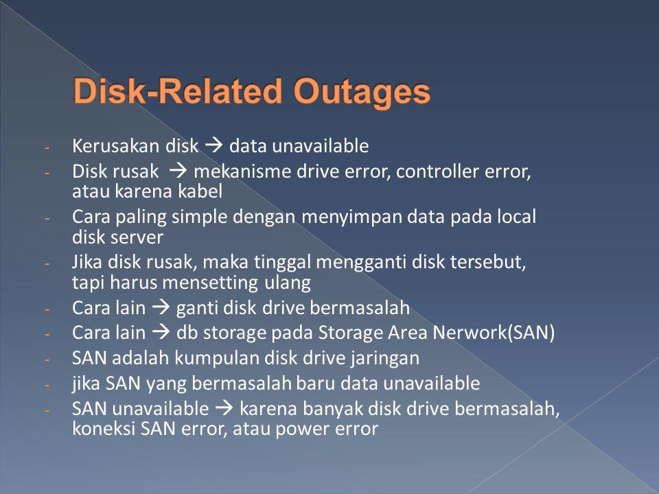 - Kerusakan disk  data unavailable - Disk rusak  mekanisme drive error, controller error, atau karena kabel - Cara paling simple dengan menyimpan data pada local disk server - Jika disk rusak, maka tinggal mengganti disk tersebut, tapi harus mensetting ulang - Cara lain  ganti disk drive bermasalah - Cara lain  db storage pada Storage Area Nerwork(SAN) - SAN adalah kumpulan disk drive jaringan - jika SAN yang bermasalah baru data unavailable - SAN unavailable  karena banyak disk drive bermasalah, koneksi SAN error, atau power error