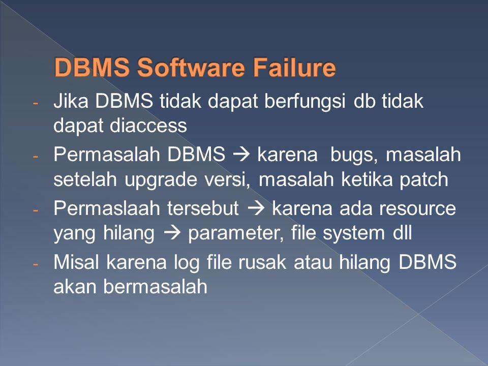 - Jika DBMS tidak dapat berfungsi db tidak dapat diaccess - Permasalah DBMS  karena bugs, masalah setelah upgrade versi, masalah ketika patch - Perma
