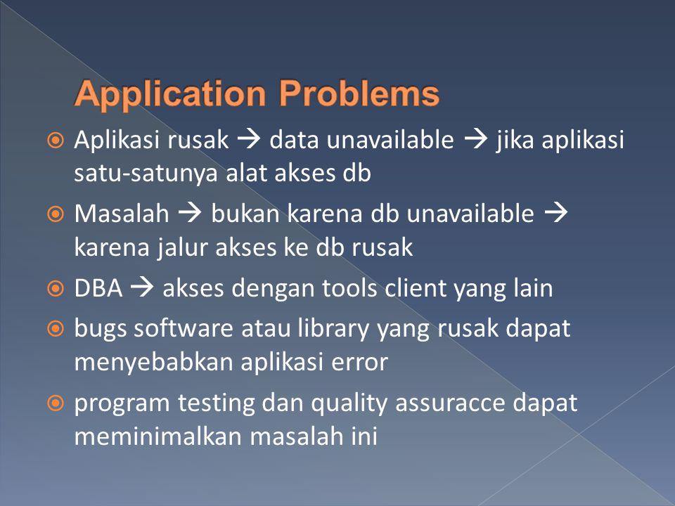  Aplikasi rusak  data unavailable  jika aplikasi satu-satunya alat akses db  Masalah  bukan karena db unavailable  karena jalur akses ke db rusak  DBA  akses dengan tools client yang lain  bugs software atau library yang rusak dapat menyebabkan aplikasi error  program testing dan quality assuracce dapat meminimalkan masalah ini