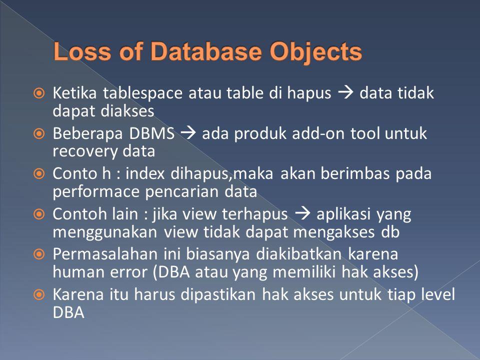  Ketika tablespace atau table di hapus  data tidak dapat diakses  Beberapa DBMS  ada produk add-on tool untuk recovery data  Conto h : index dihapus,maka akan berimbas pada performace pencarian data  Contoh lain : jika view terhapus  aplikasi yang menggunakan view tidak dapat mengakses db  Permasalahan ini biasanya diakibatkan karena human error (DBA atau yang memiliki hak akses)  Karena itu harus dipastikan hak akses untuk tiap level DBA