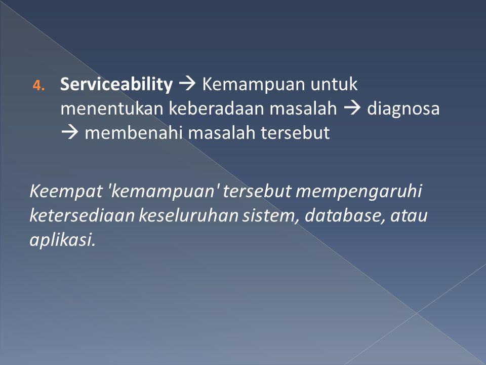 4. Serviceability  Kemampuan untuk menentukan keberadaan masalah  diagnosa  membenahi masalah tersebut Keempat 'kemampuan' tersebut mempengaruhi ke