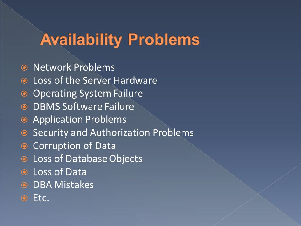  Network Problems  Loss of the Server Hardware  Operating System Failure  DBMS Software Failure  Application Problems  Security and Authorizatio