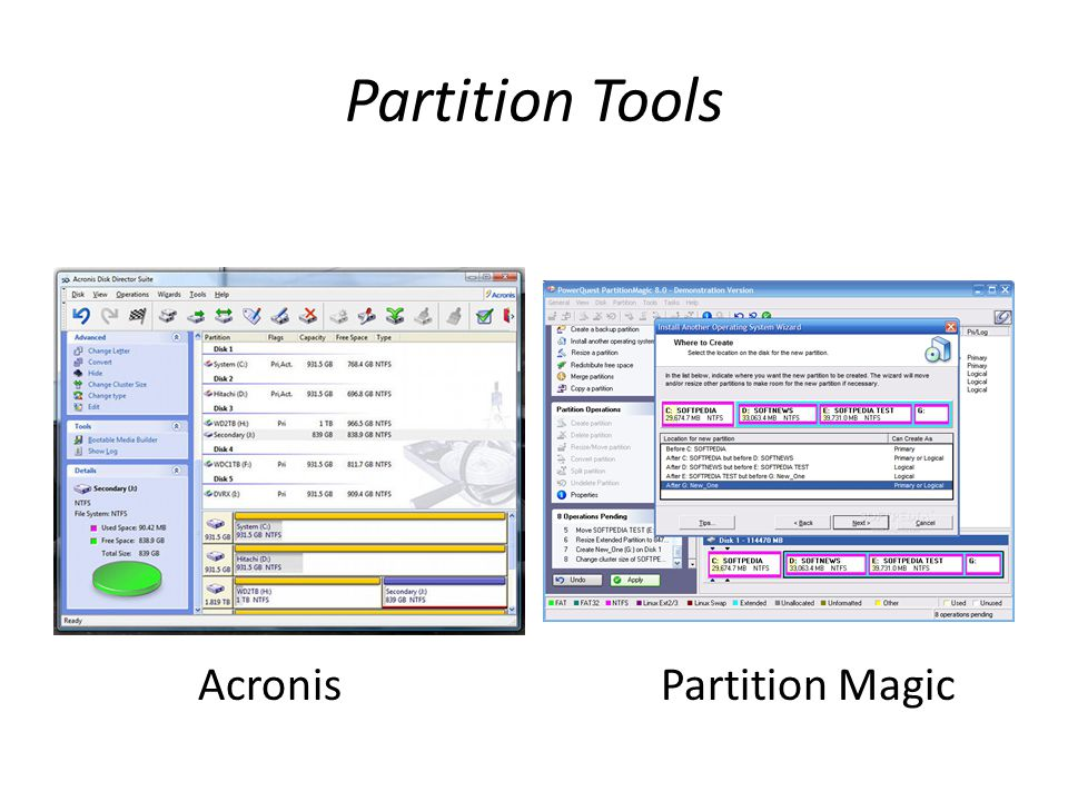 Partition Tools AcronisPartition Magic