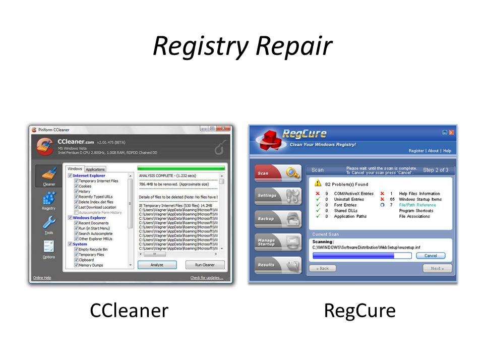 Registry Repair CCleanerRegCure