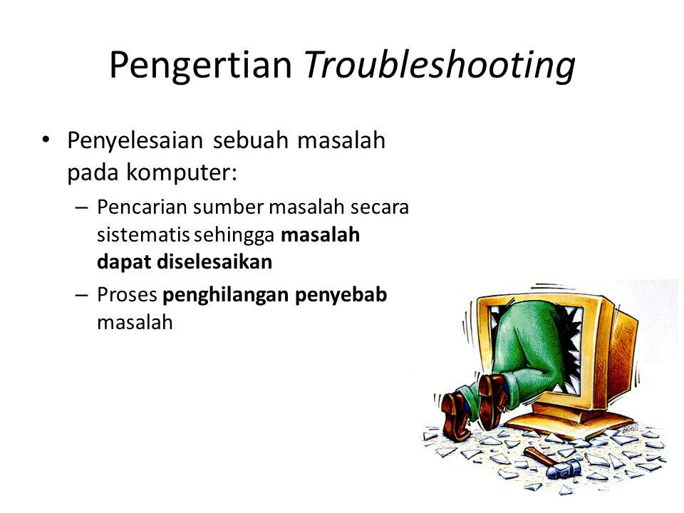 Troubleshooting • Sebelum terjadi masalah (preventif) • Setelah terjadi masalah (reaktif)