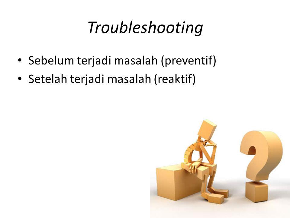 Troubleshooting Preventif • Back up file penting • Gunakan stabilisator tegangan listrik • Gunakan perangkat lunak pendukung: – Antivirus – Firewall – Dll