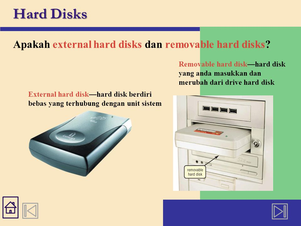 Hard Disks Apakah external hard disks dan removable hard disks? External hard disk—hard disk berdiri bebas yang terhubung dengan unit sistem Removable
