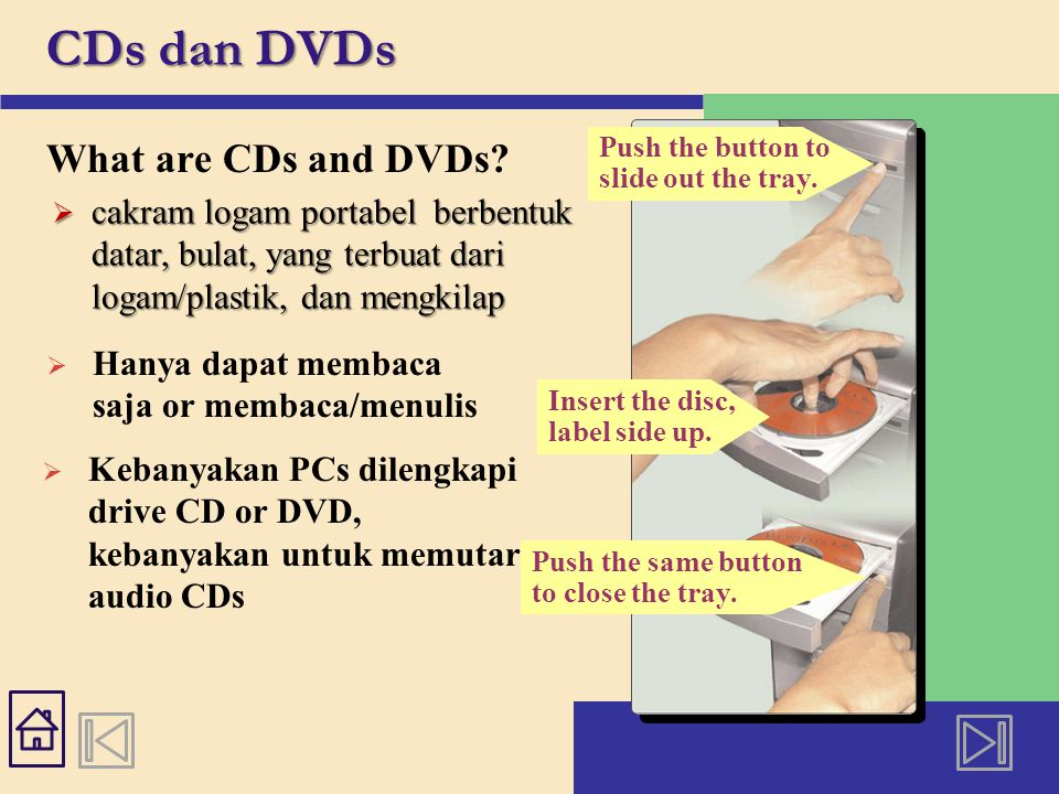 Push the same button to close the tray. CDs dan DVDs What are CDs and DVDs.