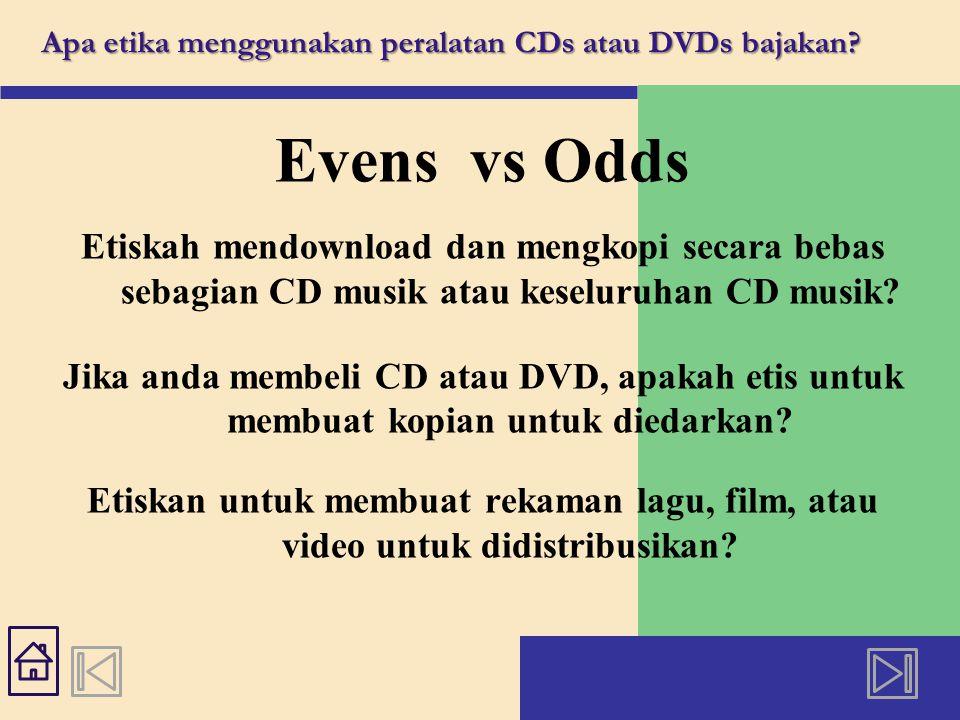 Apa etika menggunakan peralatan CDs atau DVDs bajakan.