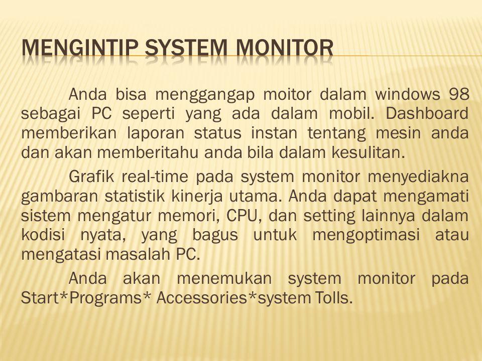 Anda bisa menggangap moitor dalam windows 98 sebagai PC seperti yang ada dalam mobil.