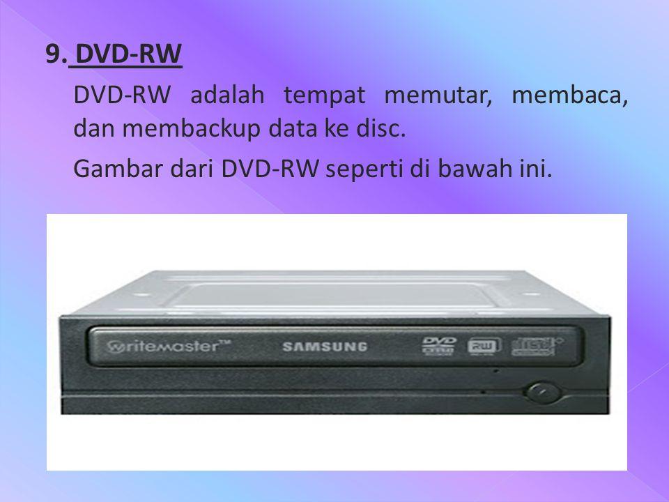 9. DVD-RW DVD-RW adalah tempat memutar, membaca, dan membackup data ke disc. Gambar dari DVD-RW seperti di bawah ini..