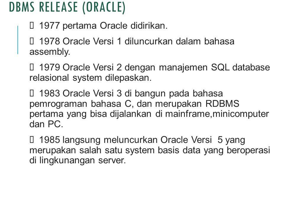 DBMS RELEASE (ORACLE)  1977 pertama Oracle didirikan.  1978 Oracle Versi 1 diluncurkan dalam bahasa assembly.  1979 Oracle Versi 2 dengan manajemen