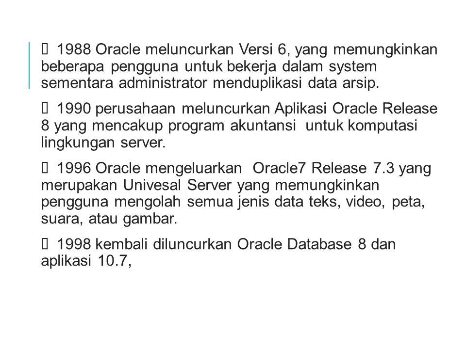  1988 Oracle meluncurkan Versi 6, yang memungkinkan beberapa pengguna untuk bekerja dalam system sementara administrator menduplikasi data arsip.  1