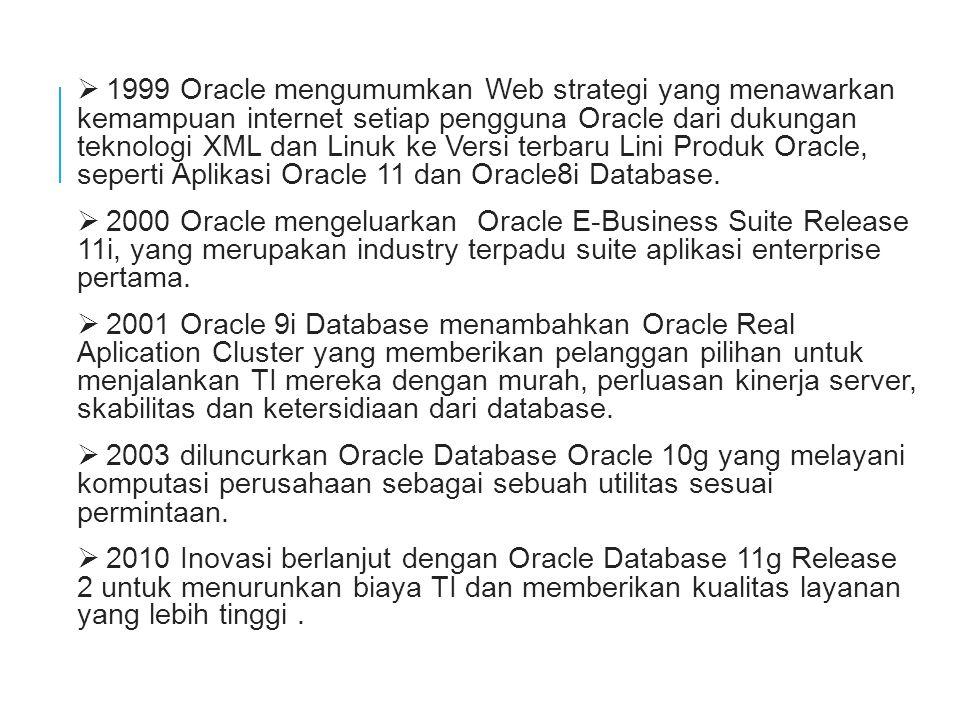  1999 Oracle mengumumkan Web strategi yang menawarkan kemampuan internet setiap pengguna Oracle dari dukungan teknologi XML dan Linuk ke Versi terbaru Lini Produk Oracle, seperti Aplikasi Oracle 11 dan Oracle8i Database.