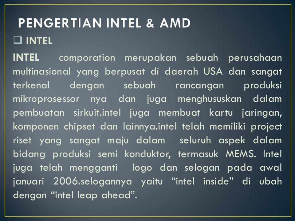  INTEL INTEL comporation merupakan sebuah perusahaan multinasional yang berpusat di daerah USA dan sangat terkenal dengan sebuah rancangan produksi m