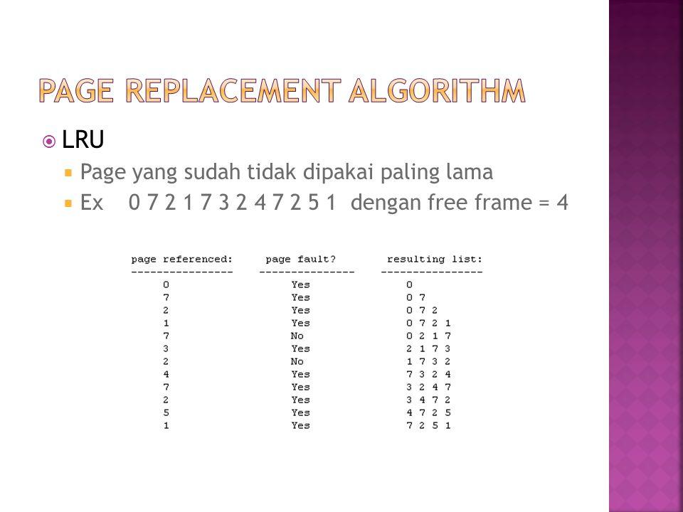  LRU  Page yang sudah tidak dipakai paling lama  Ex 0 7 2 1 7 3 2 4 7 2 5 1 dengan free frame = 4