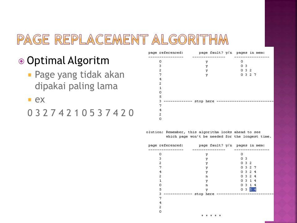  Optimal Algoritm  Page yang tidak akan dipakai paling lama  ex 0 3 2 7 4 2 1 0 5 3 7 4 2 0