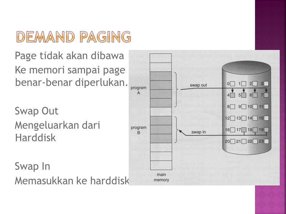 Page tidak akan dibawa Ke memori sampai page benar-benar diperlukan. Swap Out Mengeluarkan dari Harddisk Swap In Memasukkan ke harddisk