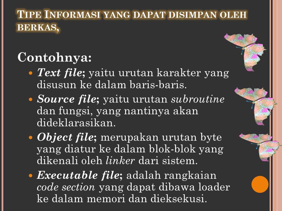 Contohnya:  Text file ; yaitu urutan karakter yang disusun ke dalam baris-baris.