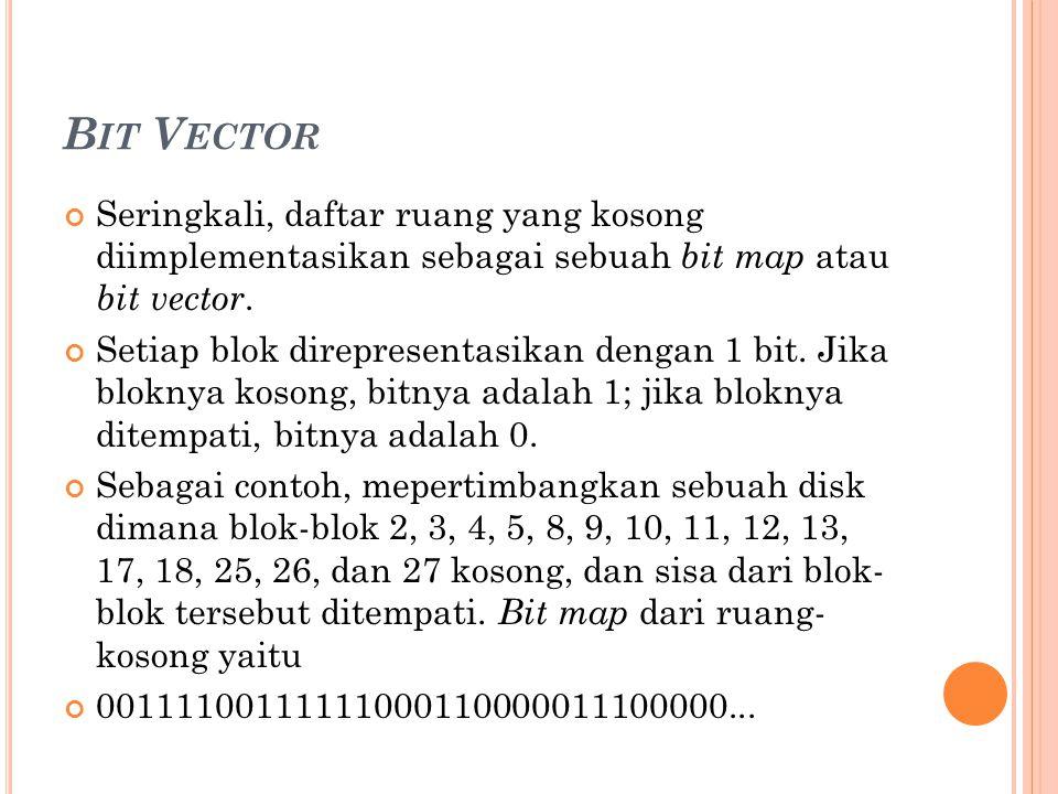 B IT V ECTOR Seringkali, daftar ruang yang kosong diimplementasikan sebagai sebuah bit map atau bit vector. Setiap blok direpresentasikan dengan 1 bit