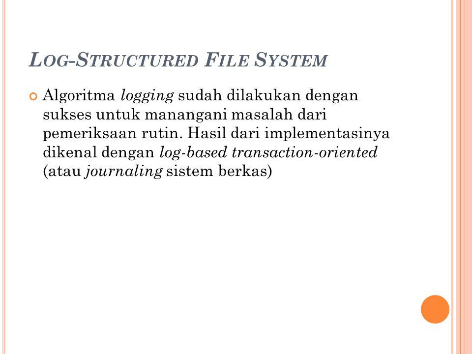 L OG -S TRUCTURED F ILE S YSTEM Algoritma logging sudah dilakukan dengan sukses untuk manangani masalah dari pemeriksaan rutin. Hasil dari implementas