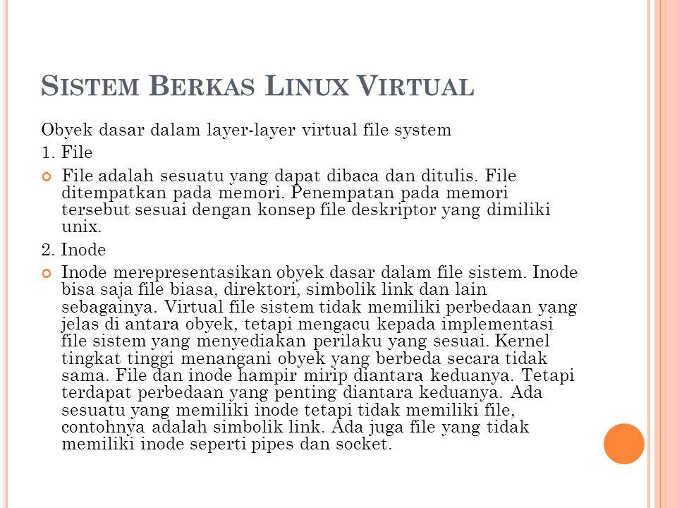 S ISTEM B ERKAS L INUX V IRTUAL Obyek dasar dalam layer-layer virtual file system 1. File File adalah sesuatu yang dapat dibaca dan ditulis. File dite