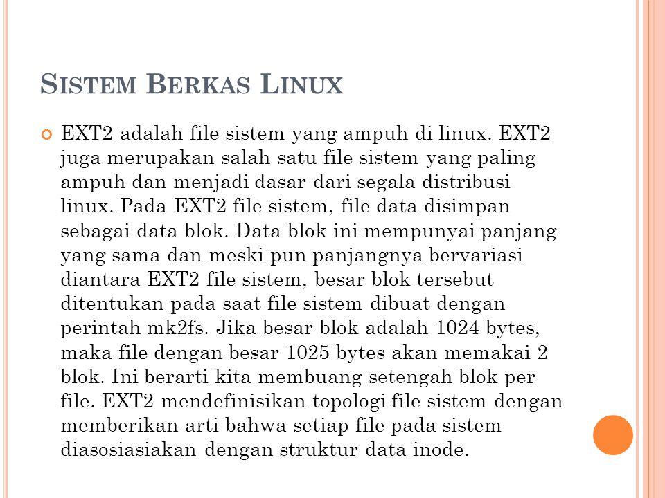 S ISTEM B ERKAS L INUX EXT2 adalah file sistem yang ampuh di linux. EXT2 juga merupakan salah satu file sistem yang paling ampuh dan menjadi dasar dar